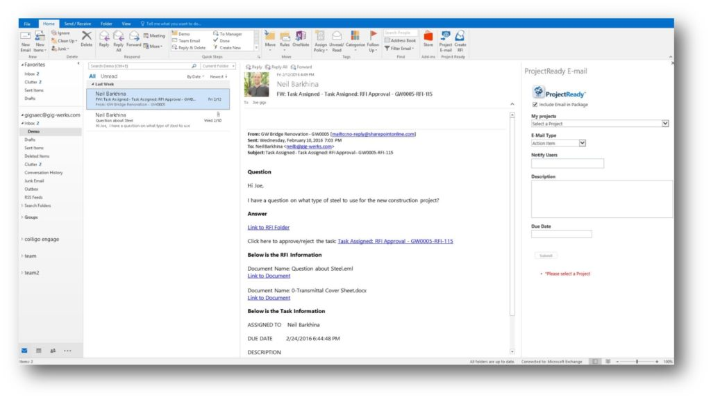Microsoft outlook integration for document control and email management